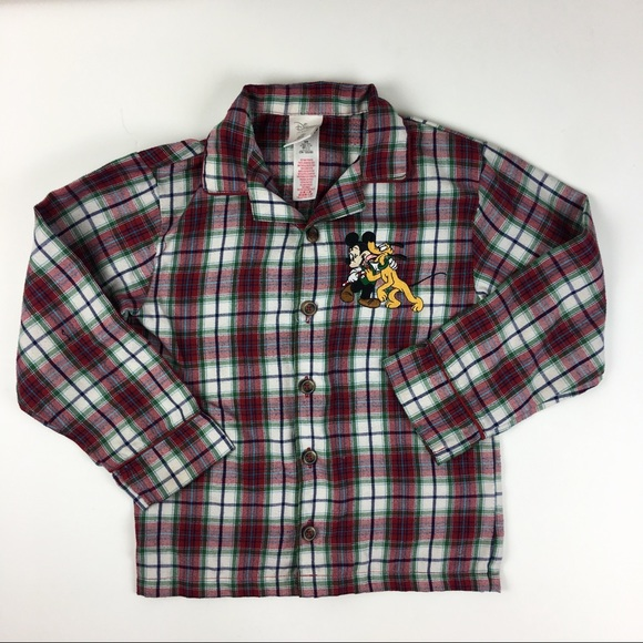 Disney Mickey Goofy Plaid Long Sleeve Shirt
